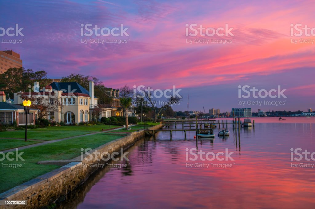 Portsmouth, Virginia Houses And Riverfront At Dawn stock photo