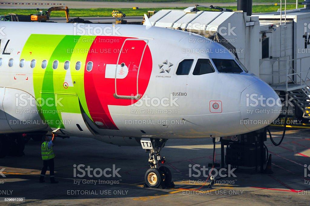 TAP Portugal aviões no Aeroporto de Lisboa - foto de acervo