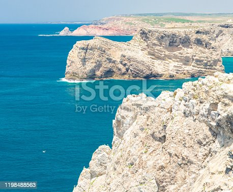 Portugal, Algarve, view of famous cliffs of Moher and wild Atlantic Ocean, Portuguese coastline close to Cape St. Vincent on a sunny and clear day with The blue Atlantic  in the background