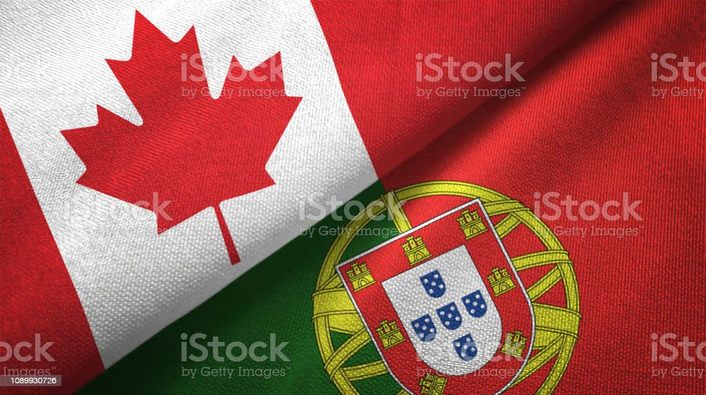 Portugal and Canada two flags together realations textile cloth fabric texture - fotografia de stock