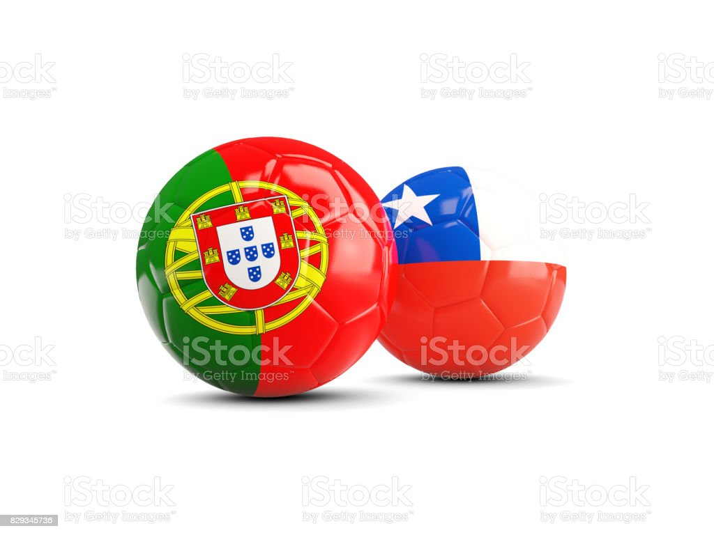 Portugal and Chile soccer balls isolated on white background stock photo
