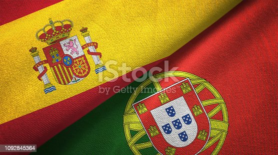 Portugal and Spain flag together realtions textile cloth fabric texture