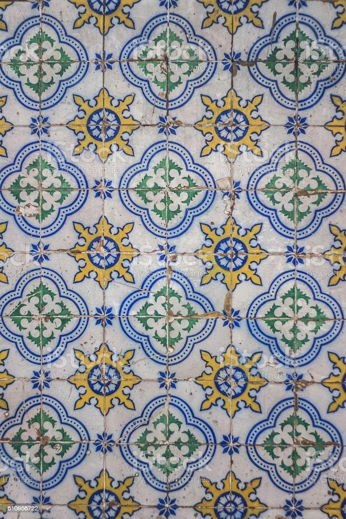 Portugal azulejos tiles wall. Vintage background of Lisnoa wall. stock photo