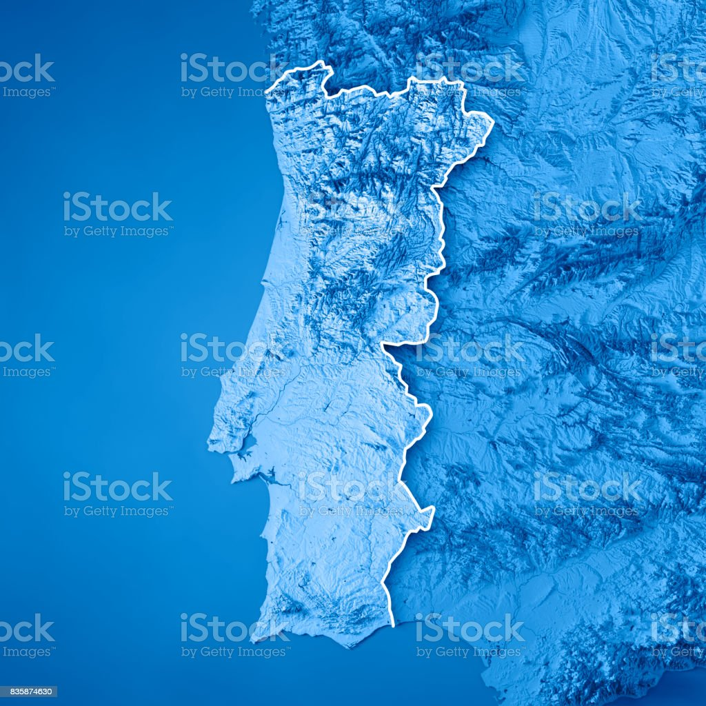 Portugal Country 3D Render Topographic Map Blue Border stock photo