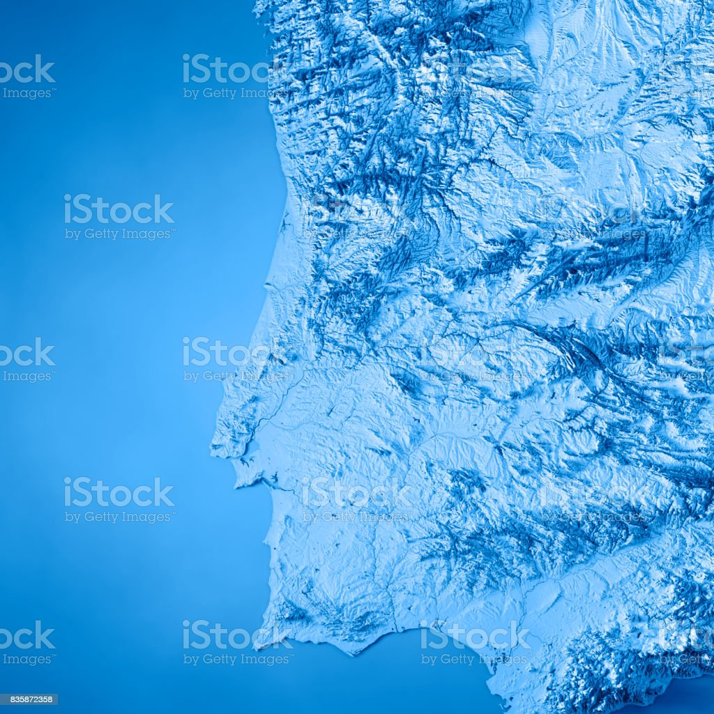 Portugal Country 3D Render Topographic Map Blue stock photo