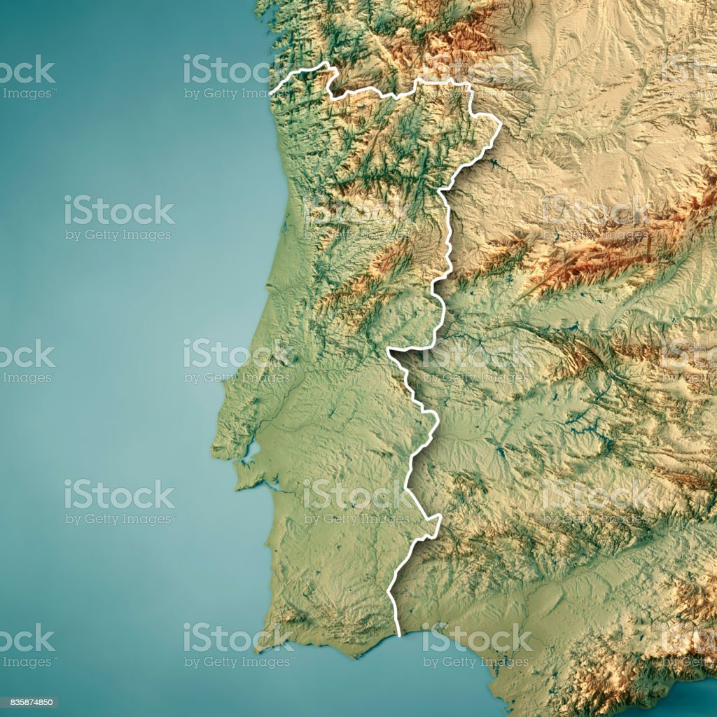 Portugal Country 3D Render Topographic Map Border stock photo