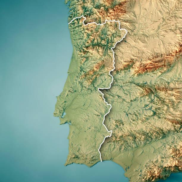 portugal country 3d render topographic map border - portugal map imagens e fotografias de stock