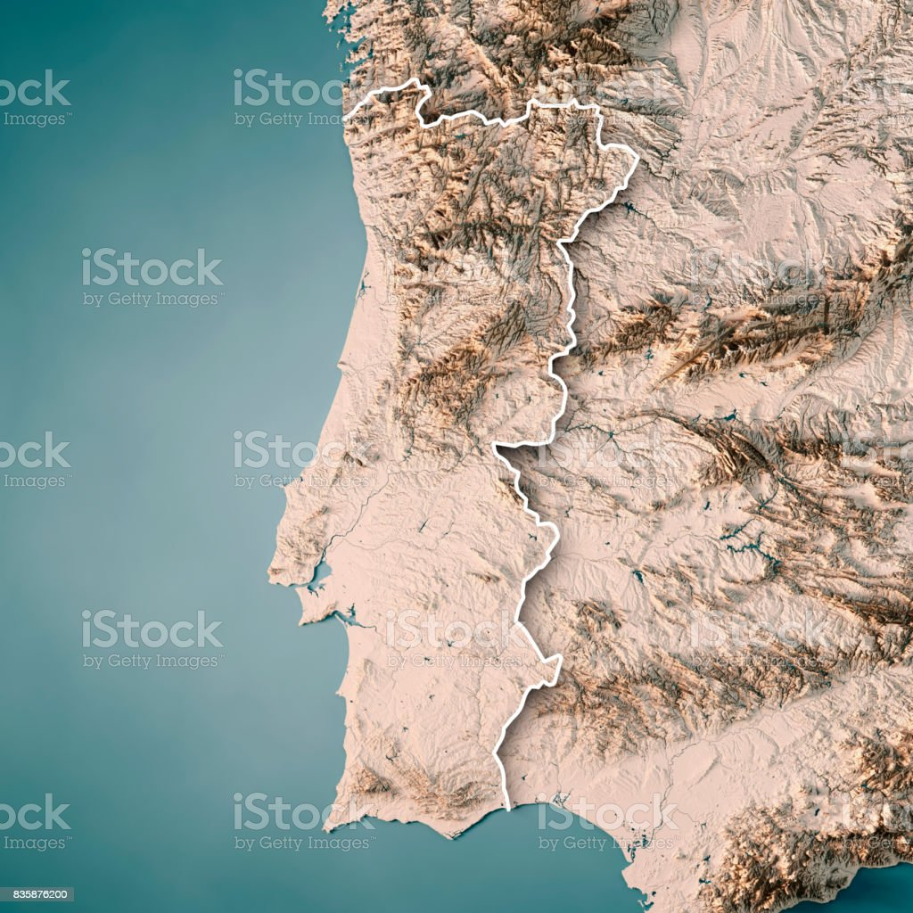 Portugal Country 3D Render Topographic Map Neutral Border stock photo
