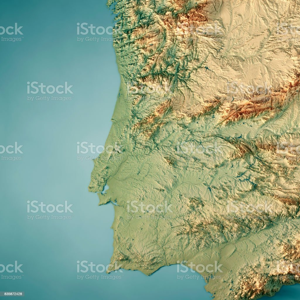 Portugal Country 3D Render Topographic Map stock photo