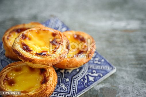 Portugal egg tart Pastel de Nata with azulejo tile