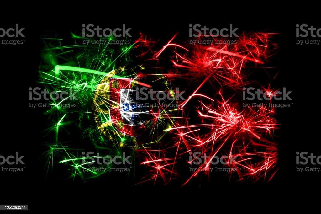 Christmas In Portugal 2019.Portugal Fireworks Sparkling Flag New Year 2019 And Christmas Party Concept Stock Photo Download Image Now