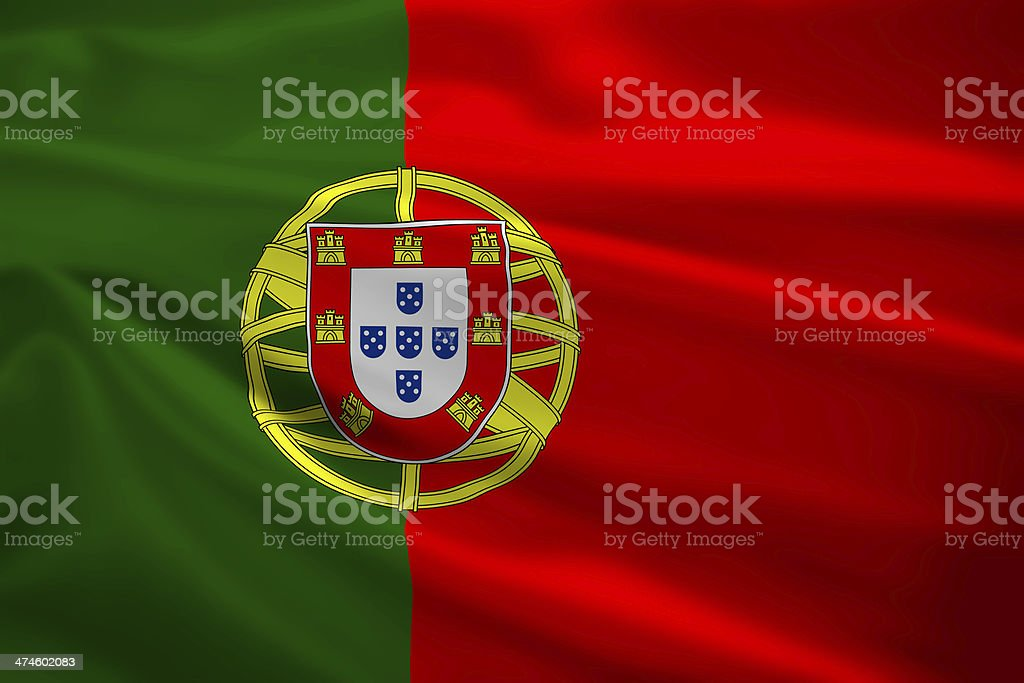 Portugal flag blowing in the wind stock photo