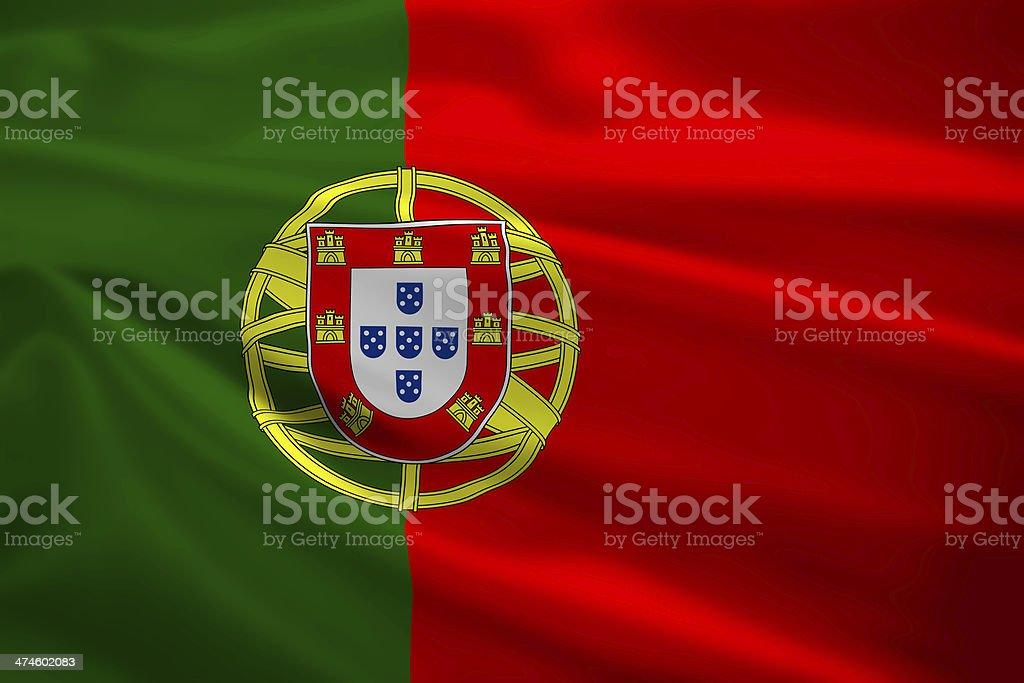 Bandeira de Portugal, de mandar a balançar ao vento - fotografia de stock
