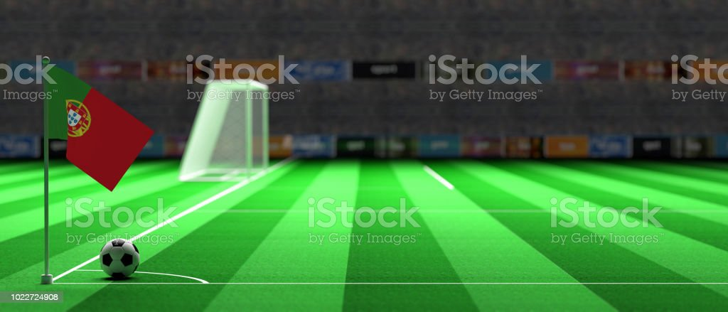 Portugal flag on a soccer field. 3d illustration royalty-free stock photo