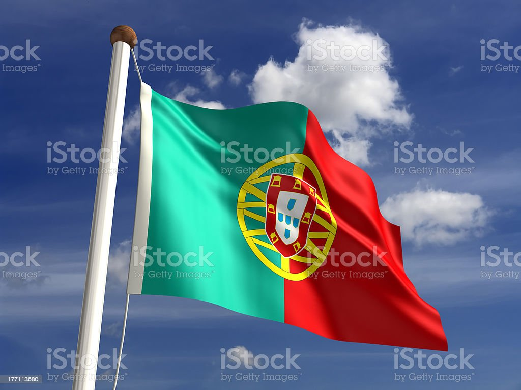 Portugal flag (with clipping path) stock photo