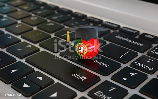 1069581886 istock photo Portugal flag with graduation cap on laptop keyboard 1179634298