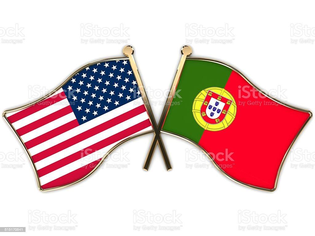 USA Portugal Flags Badge stock photo