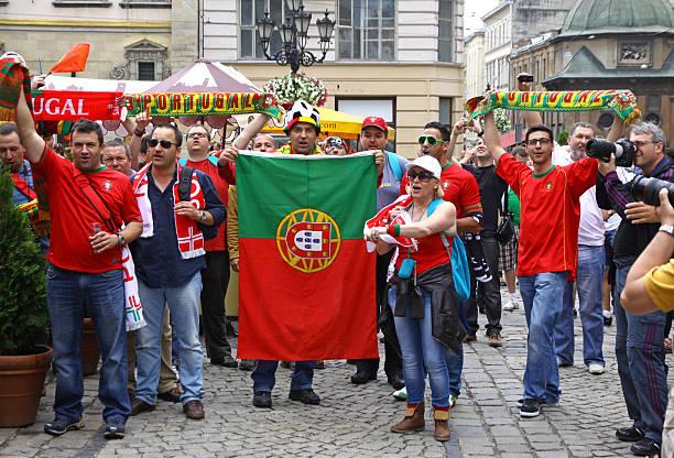 portugal football team supporters - football portugal flag bildbanksfoton och bilder