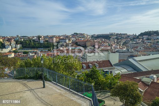 Portugal, Lisabon, city park, roofs. 2014