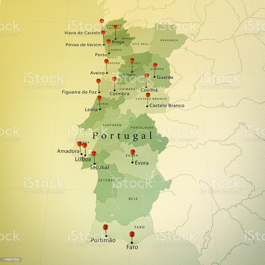Portugal Map Square Cities Straight Pin Vintage stock photo