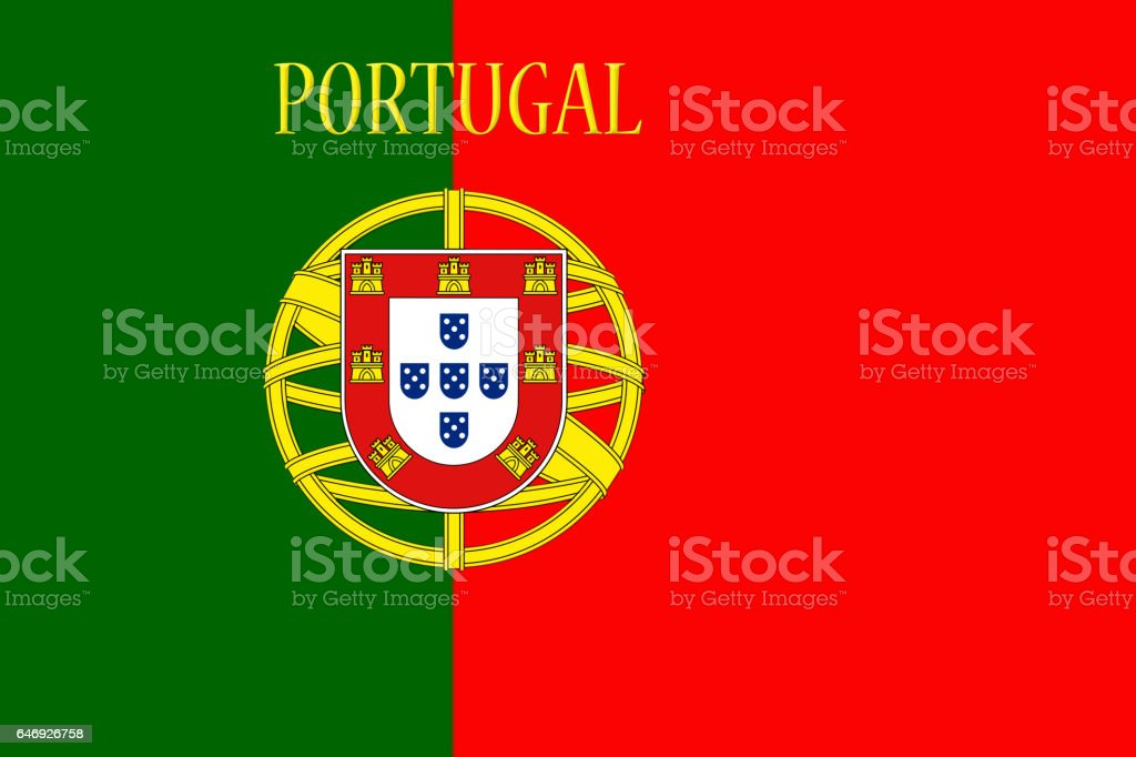 Portugal National Flag With Country Name Written On It 3D illustration - fotografia de stock