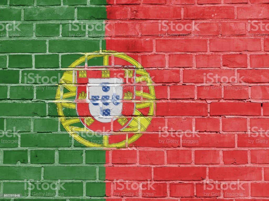 Portugal Politics Concept: Portuguese Flag Wall Background Texture - fotografia de stock