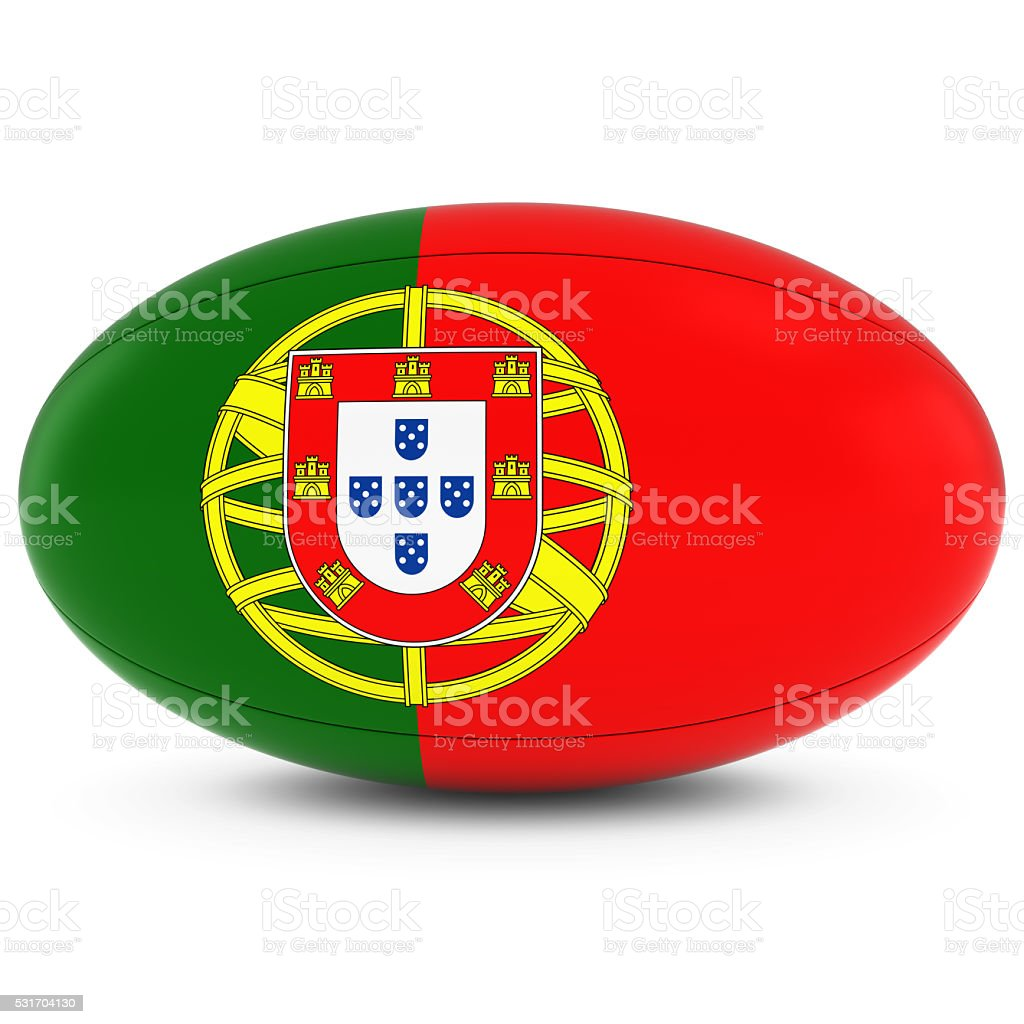 Portugal Rugby - Portuguese Flag on Rugby Ball on White stock photo