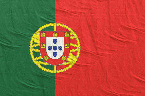 Portugal silk flag stock photo