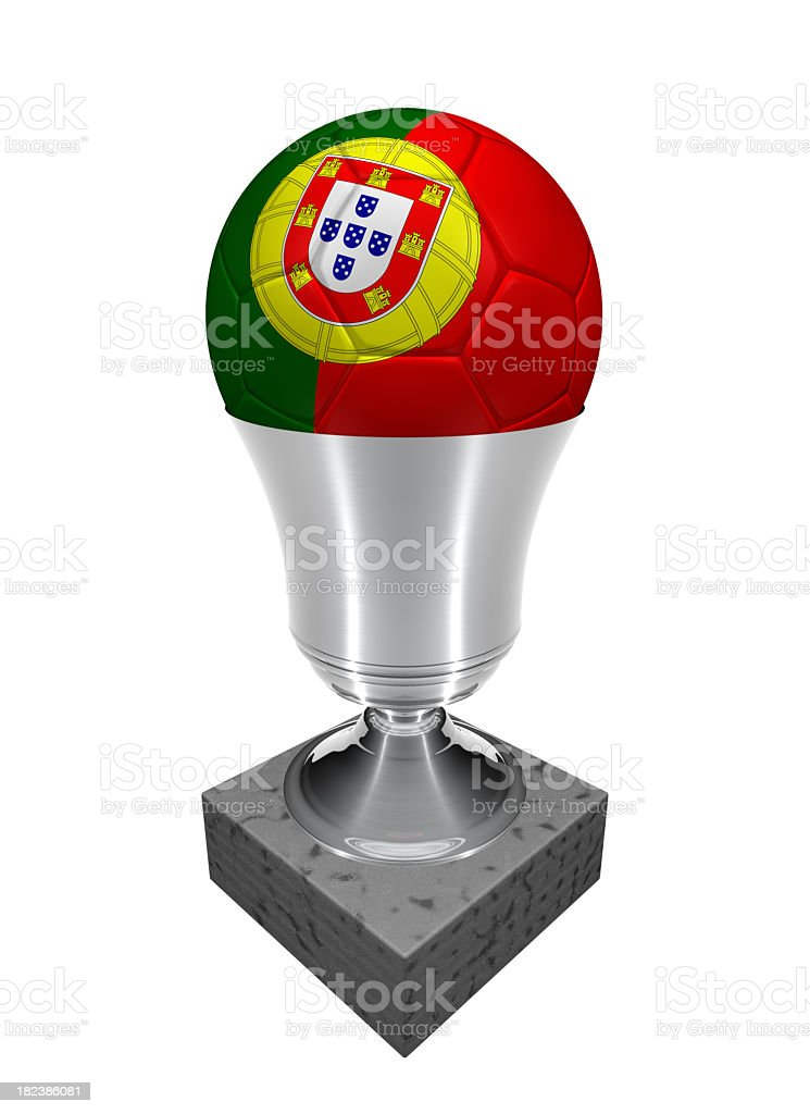 portugal soccer ball in a trophy royalty-free stock photo