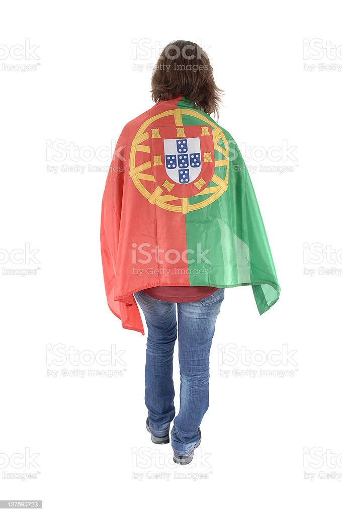 Portugal Soccer fan, isolated on white background royalty-free stock photo
