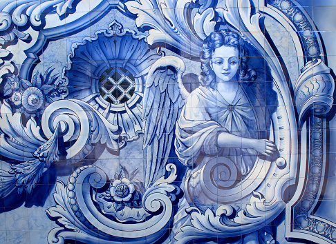 Portugal. Typical historical blue and white ceramic 'azulejo' tiles depicting an angel.