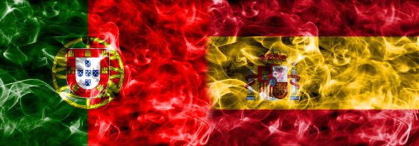 portugal vs spanien rök flagga - football portugal flag bildbanksfoton och bilder