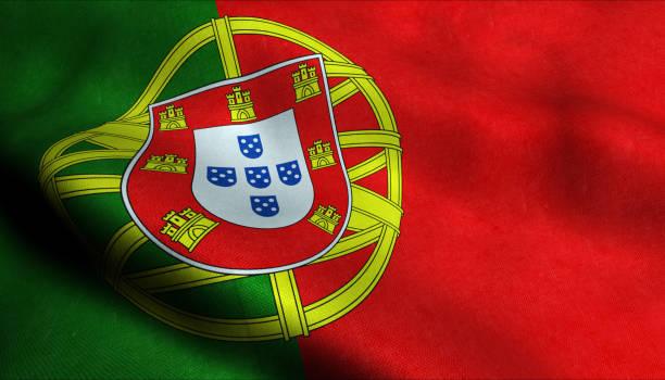 portugal zwaaiende vlag in 3d - portugal stockfoto's en -beelden