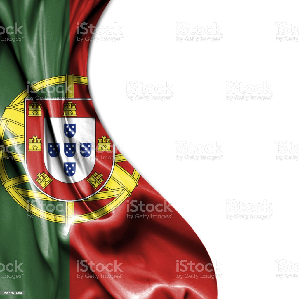 Portugal waving satin flag isolated on white background - fotografia de stock