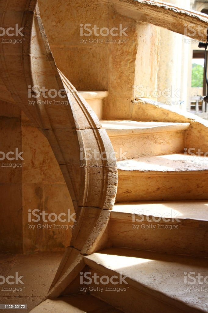 Portugal-Tomar: Stairs in Convento do Christo stock photo