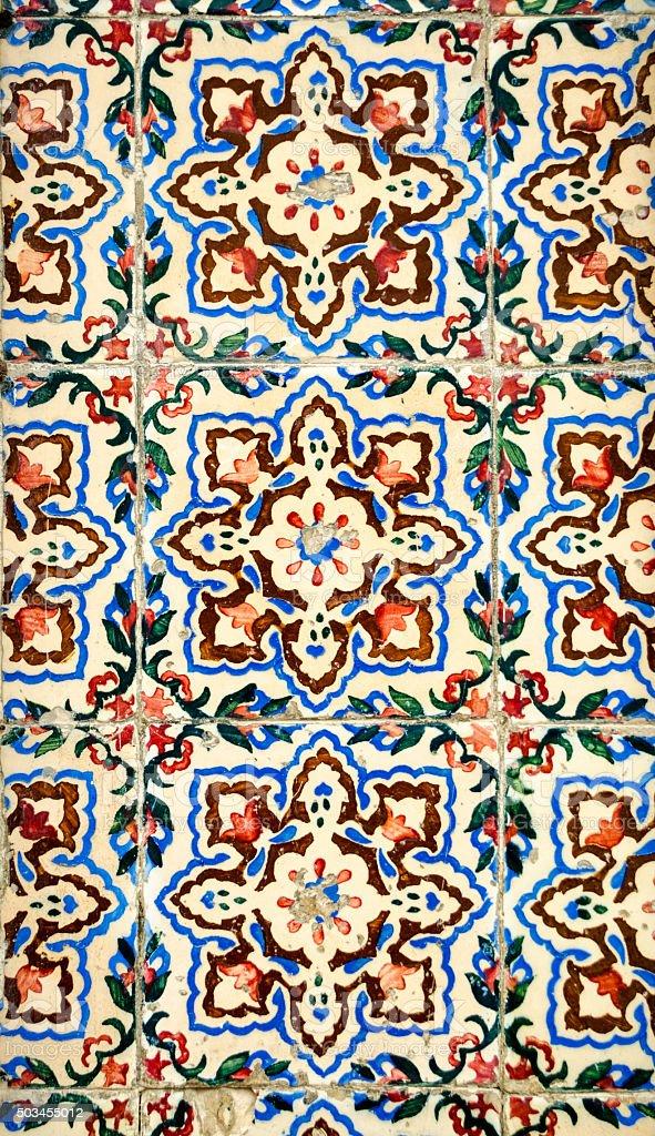 Portugese mosaic decoration tiles. stock photo