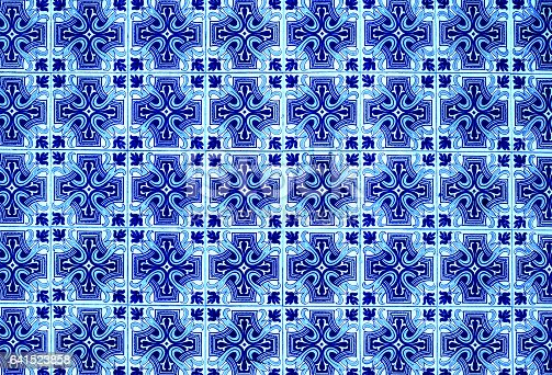 istock Portuguese azulejo tiles. Blue and white Abstract colorful wall background 641523858