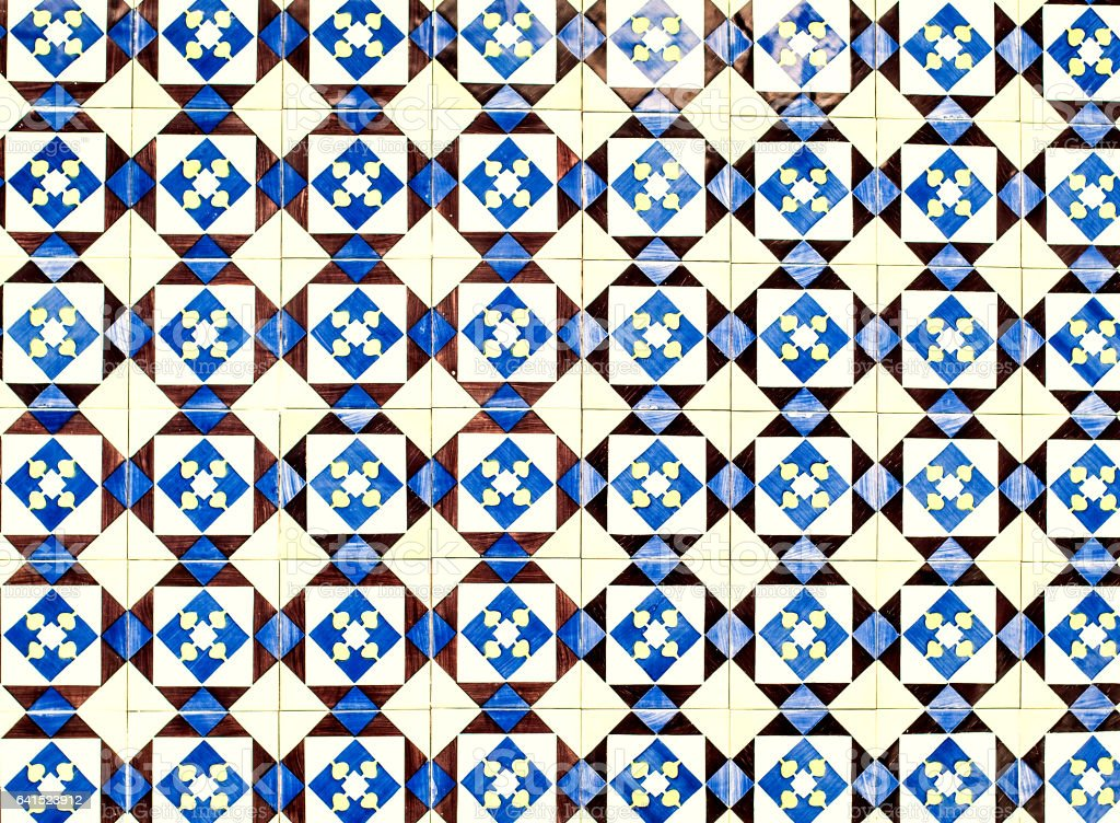 Portuguese azulejo tiles. Blue and white  - Abstract Square design element ornaments  as wallpaper, web, background,  art textures - fotografia de stock