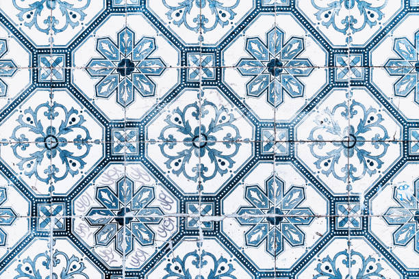Portuguese Azulejos on building walls stock photo
