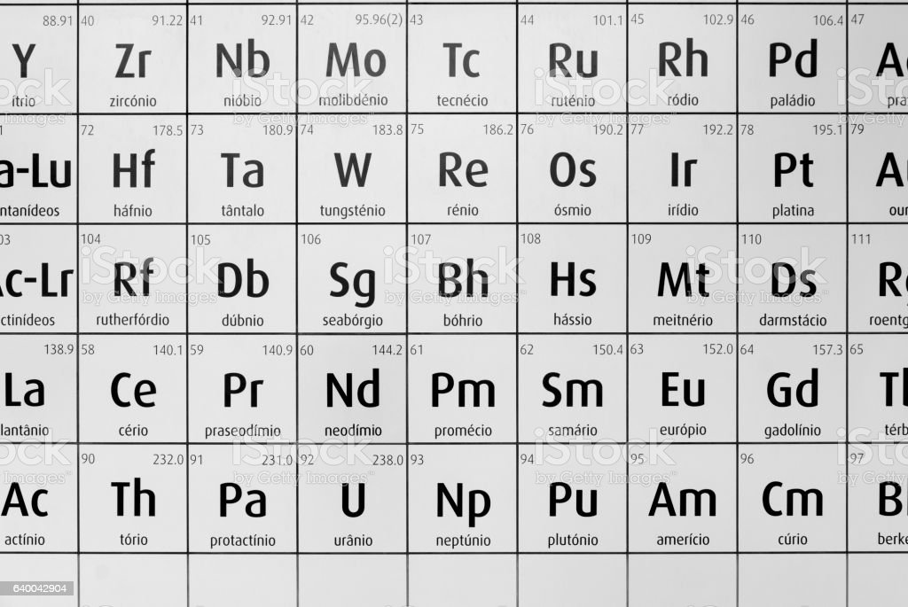 Portuguese black and white periodic table of chemical elements stock photo