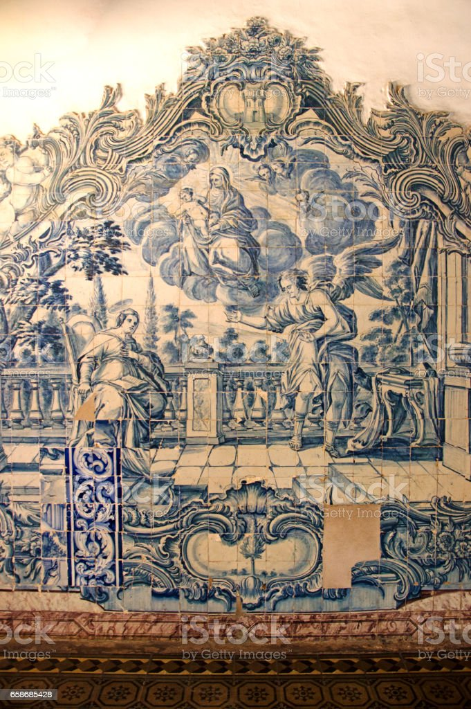 Portuguese blue azulejos in Olinda stock photo