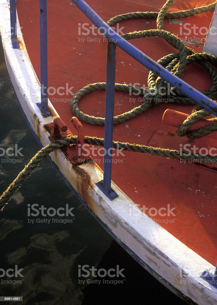 Portuguese Boat Tied Up royalty-free stock photo