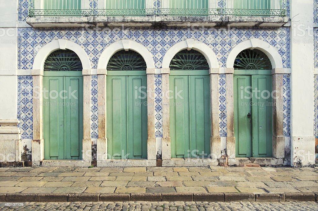 Português do Brasil Colonial de arquitetura de São Luís-do-Brasil - fotografia de stock