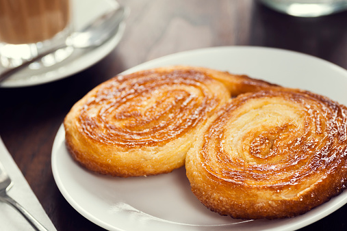 Portuguese Breakfast Palmier or Palmiere and Galão Coffee