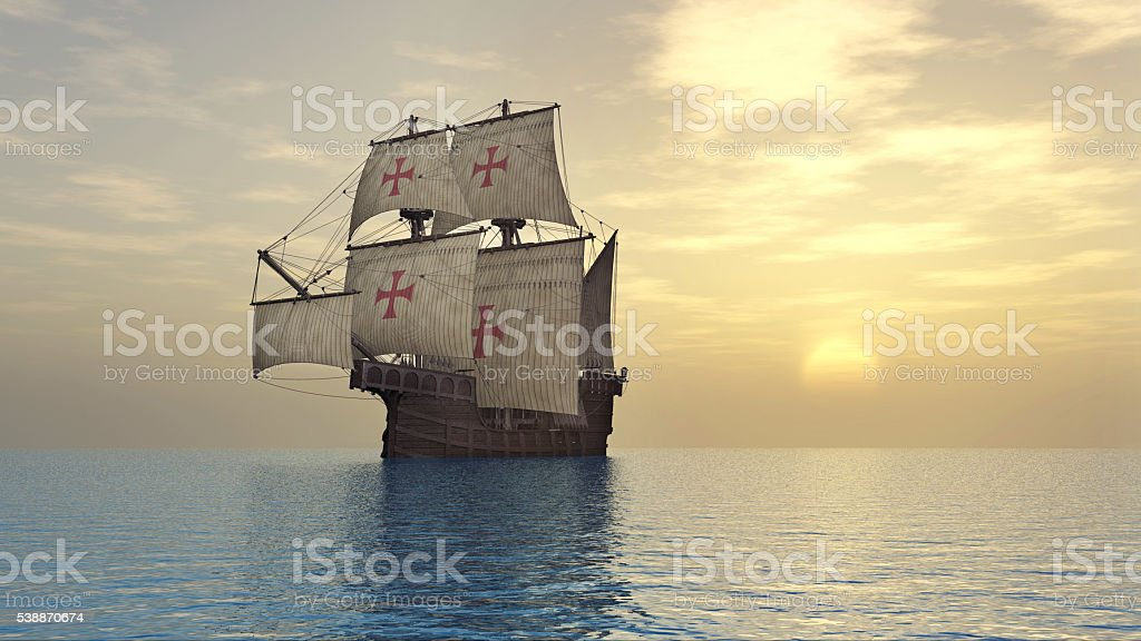 Portuguese caravel of the fifteenth century stock photo