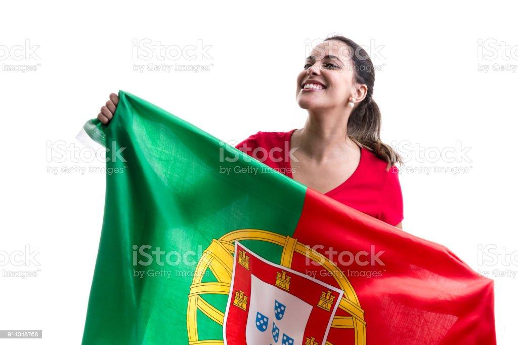 Fã do sexo feminino Português comemorando em fundo branco - foto de acervo