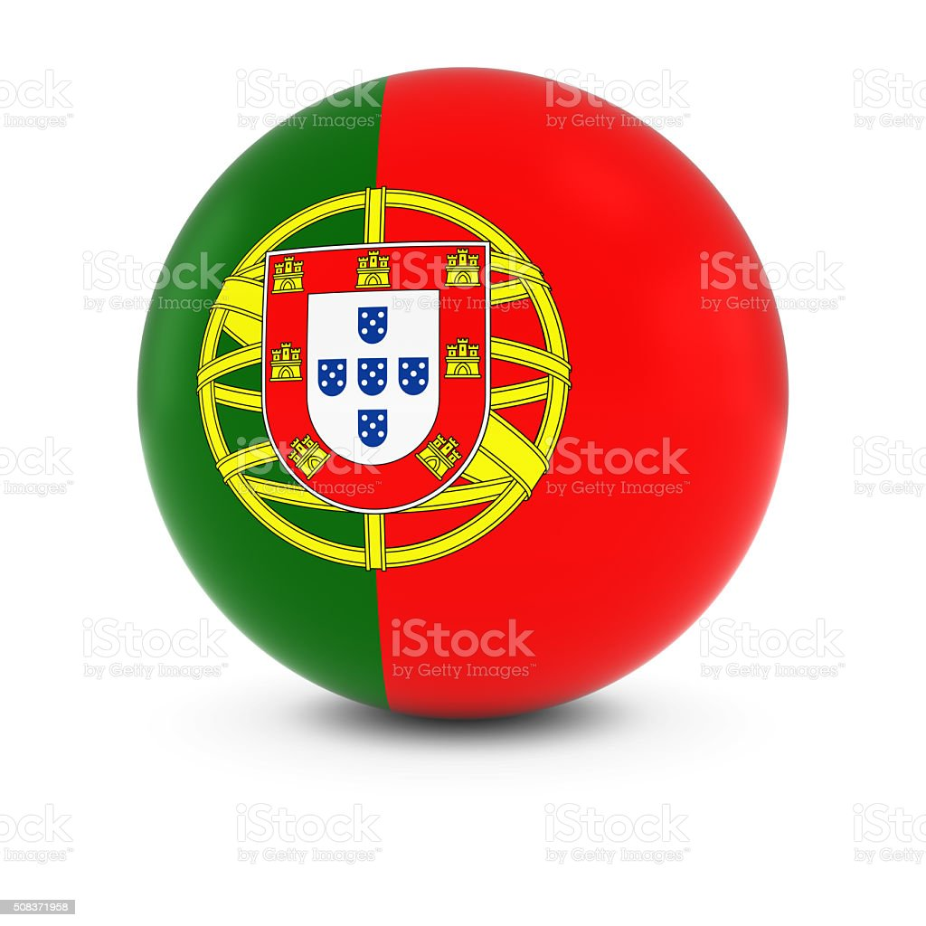 Portuguese Flag Ball - Flag of Portugal on Isolated Sphere stock photo