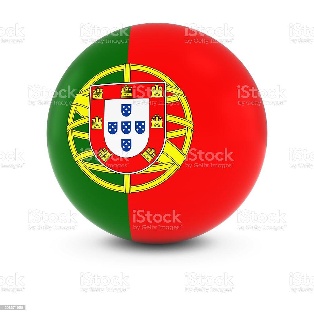 Bandeira de Portugal bola de Bandeira de Portugal em isolados esfera - fotografia de stock