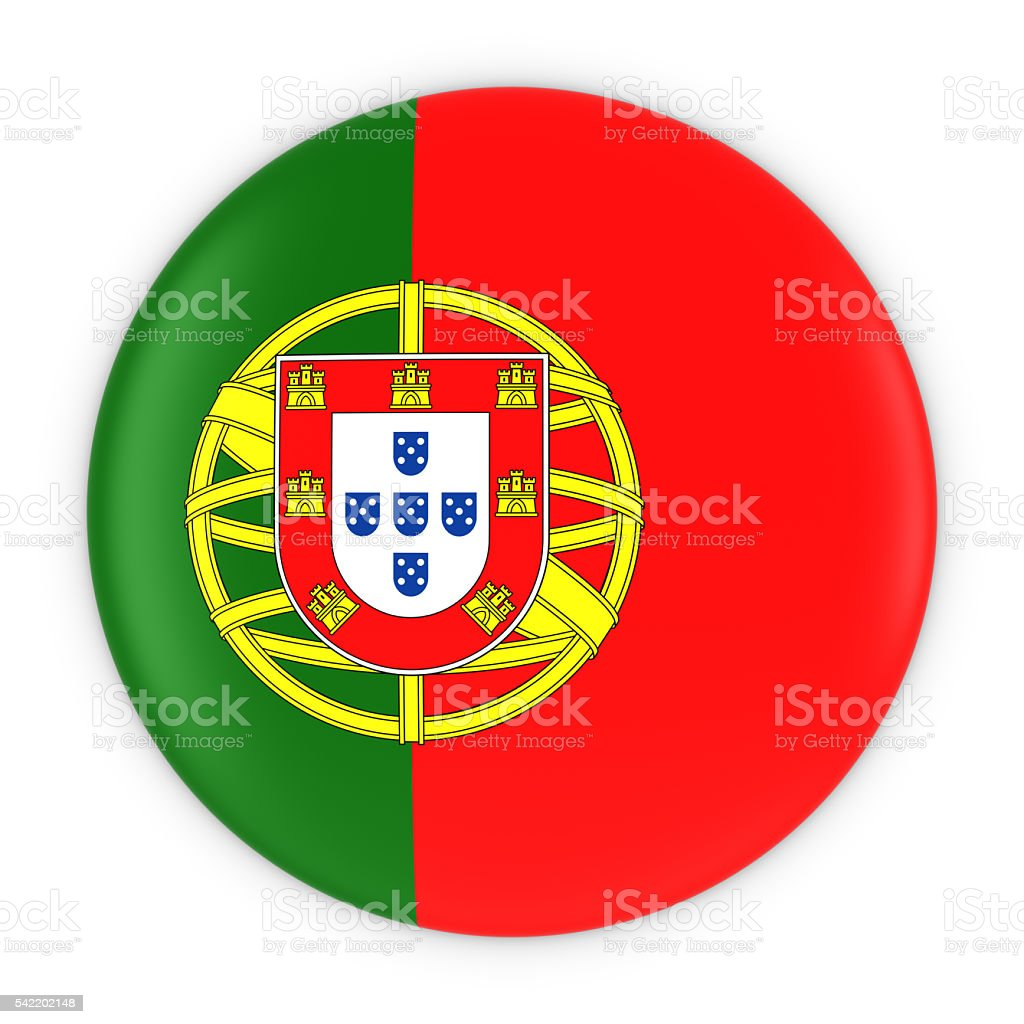 Portuguese Flag Button - Flag of Portugal Badge 3D Illustration - foto de acervo