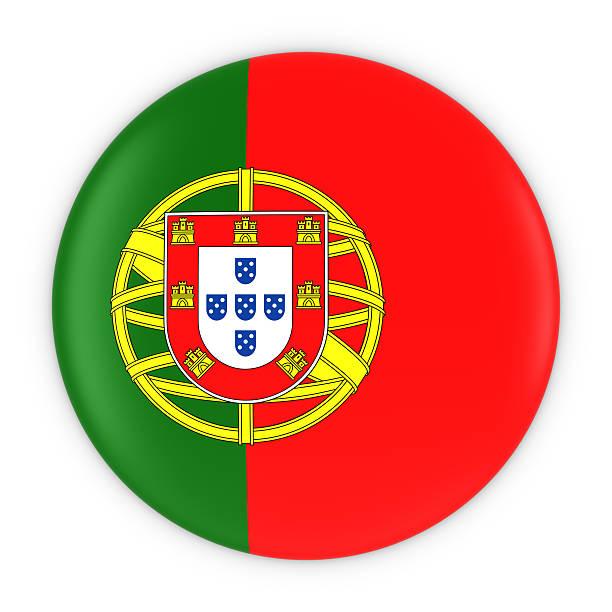 Portuguese Flag Button - Flag of Portugal Badge 3D Illustration stock photo